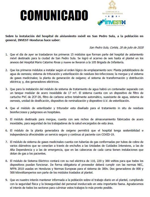 InvestH Comunicado 280720