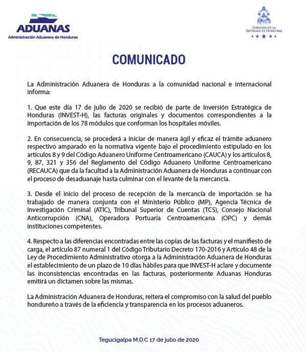 aduanas comunicado