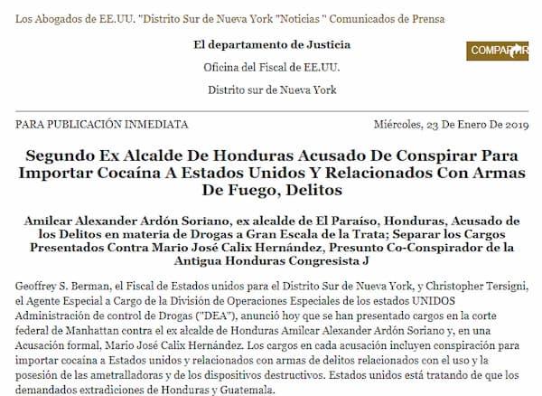 Segundo Ex Alcalde de Honduras Acusado de Conspirar Para Importar Coc