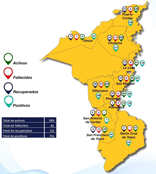 mapa cortes COVID